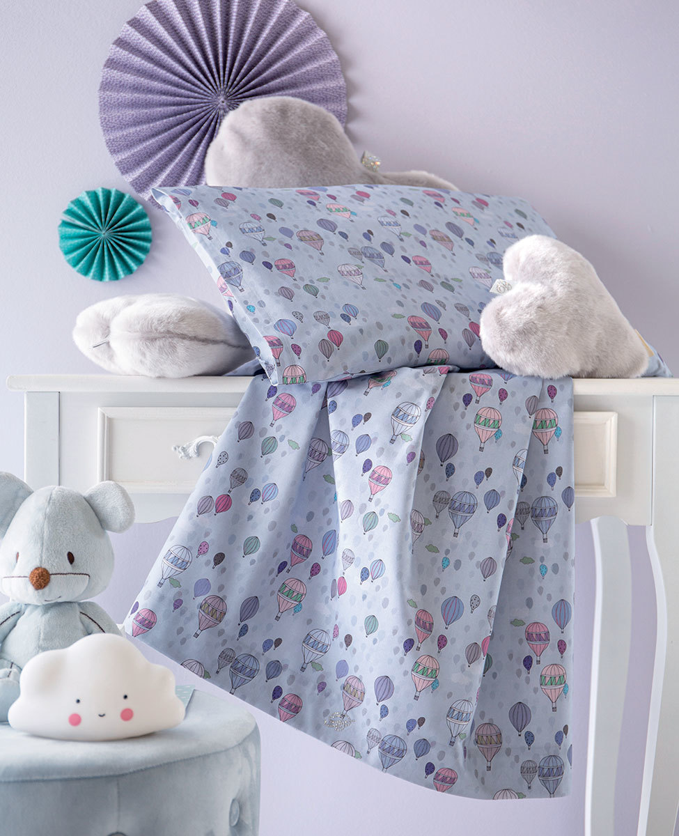 Sheet set for baby bed Mongolfiera