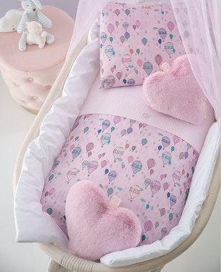 Duvet cover set for baby cradle Mongolfiera